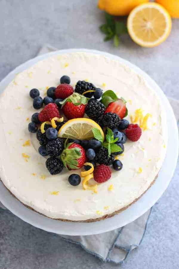No-Bake Lemon Cheesecake | The Real Food Dietitians | http://therealfoodrds.com/no-bake-lemon-cheesecake/