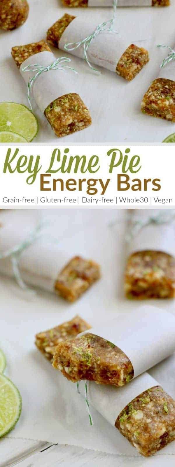 Key Lime Pie Energy Bars | The bars are a knockoff of the fruit and nut bars everyone loves. Feel free to roll them into balls for a bite-sized treat or add a scoop or two of collagen a little protein boost | Paleo | Gluten-free | Grain-free | Dairy-free | Vegan | Egg-free | https://therealfoodrds.com/key-lime-pie-energy-bars/