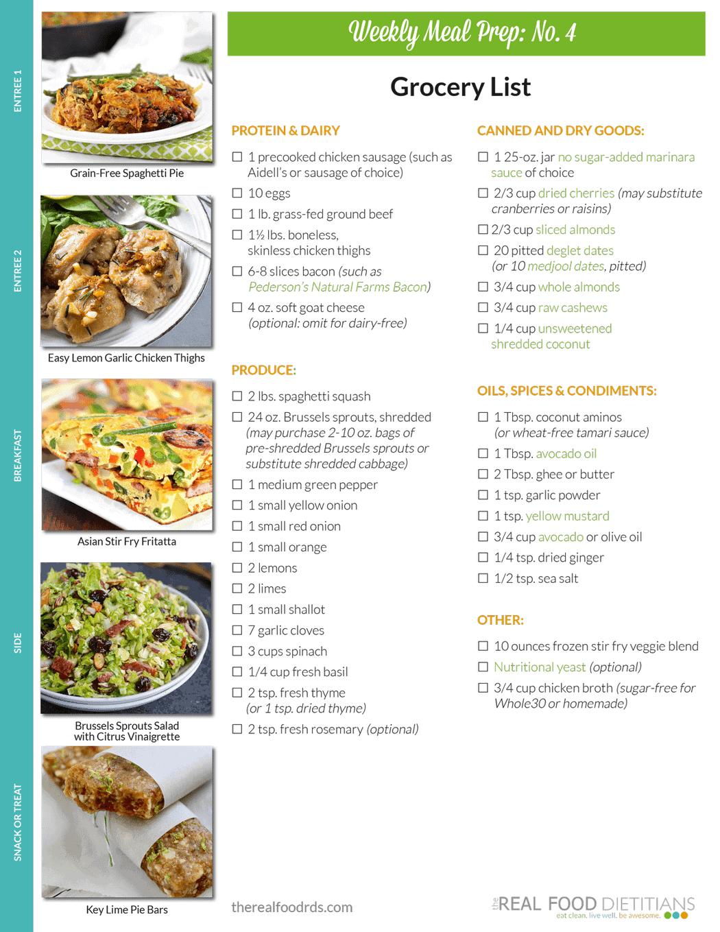 Weekly Meal Prep Menu: No. 4 - The Real Food Dietitians