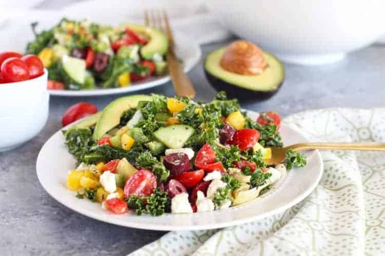 Greek Kale Salad with Avocado