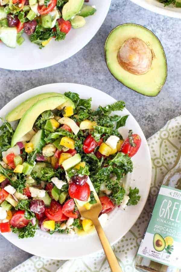 Primal Kitchen Greek Vinaigrette   Greek Kale Salad with Avocado   The Real Food Dietitians   https://therealfoodrds.com/greek-kale-salad-avocado/