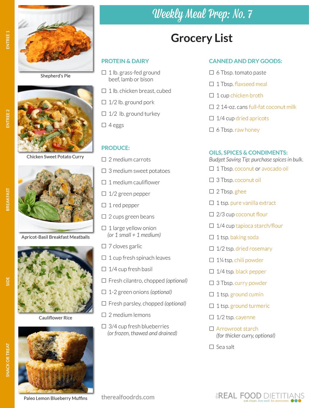Weekly Meal Prep Menu: No. 7 - The Real Food Dietitians