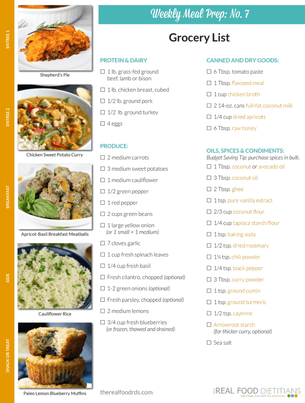 Weekly Meal Prep Menu: No. 7 | The Real Food Dietitians | http://therealfoodrds.com/weekly-meal-prep-menu-no-7/