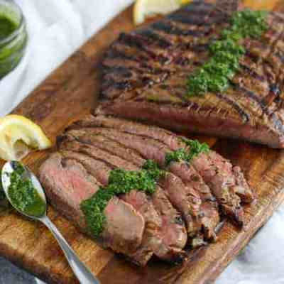 Balsamic Flank Steak with Chimichurri Sauce
