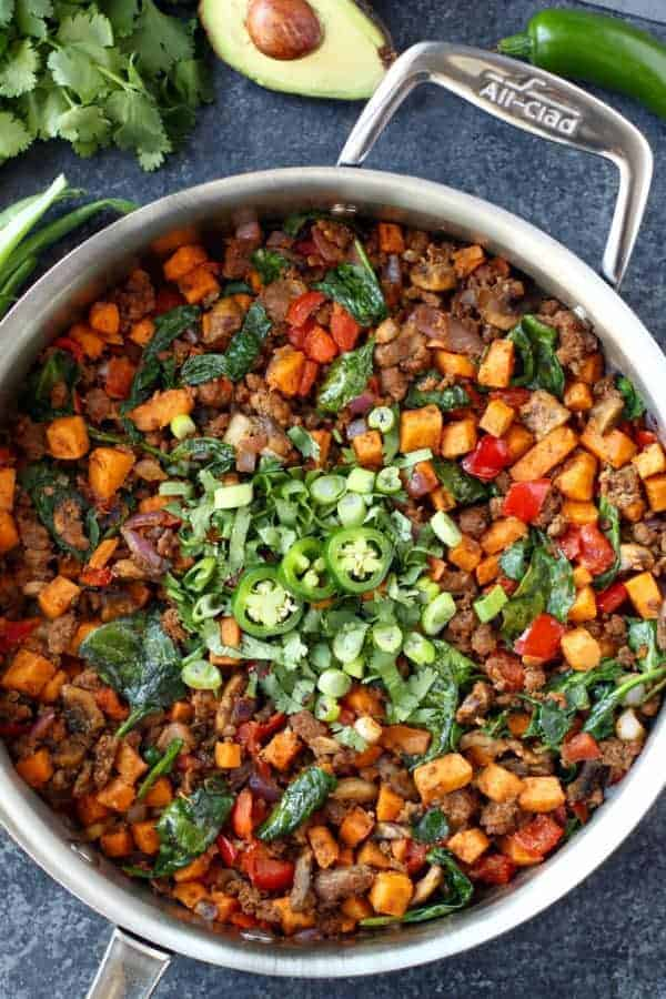 Tex Mex Sweet Potato Hash | All-Clad LTD Saute Pan | https://therealfoodrds.com/tex-mex-sweet-potato-hash/