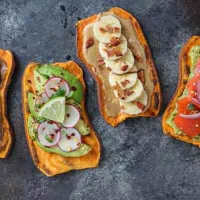 Oven Baked Sweet Potato Toast 4 Ways