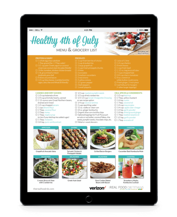 Healthy 4th of July Menu | The Real Food Dietitians | http://therealfoodrds.com/healthy-4th-july-menu/