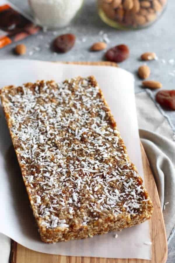 No-Bake Apricot Almond Coconut Energy Bars | The Real Food Dietitians | http://therealfoodrds.com/apricot-almond-coconut-energy-bars/
