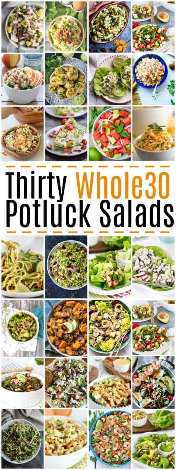 Need a Whole30-friendly dish to pass at your next party? Here's 30 Whole30 Potluck Salads to keep you well fed and on track this summer. | The Real Food Dietitians | https://therealfoodrds.com/30-whole30-potluck-salads/