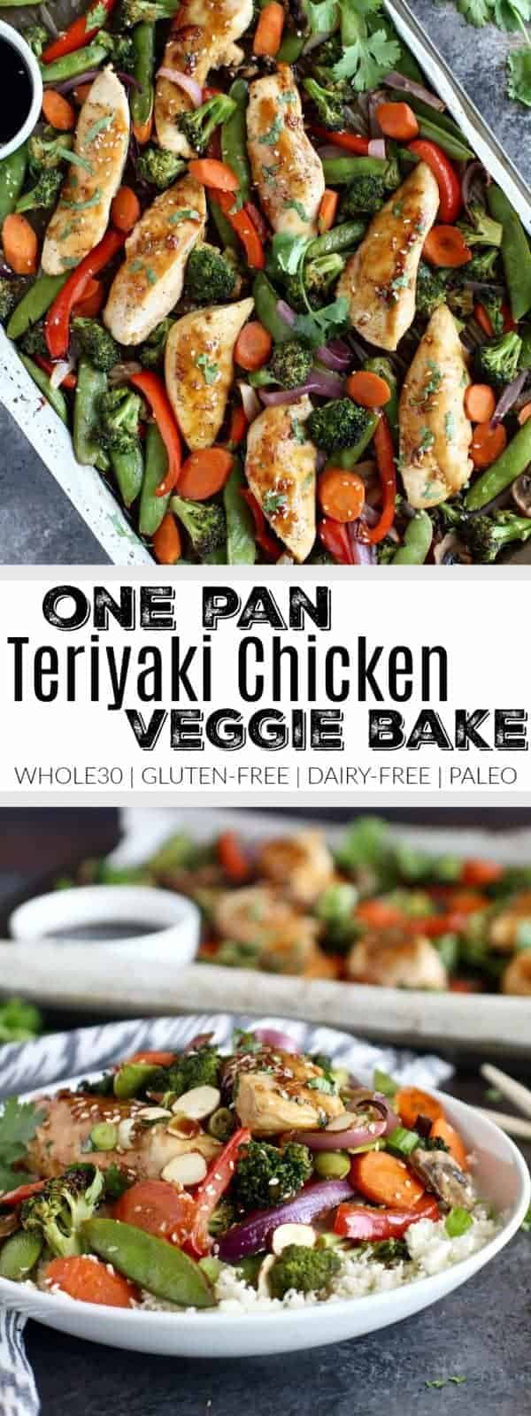 Full of flavor, nutrient-dense veggies and satisfying protein. This One-Pan Teriyaki Chicken Veggie Bake that's made with a simple homemade teriyaki sauce is Whole30-friendly and perfect for weeknight dinners. Whole30 | Gluten-free | Dairy-free | Paleo | http://therealfoodrds.com/one-pan-teriyaki-chicken-veggie-bake/