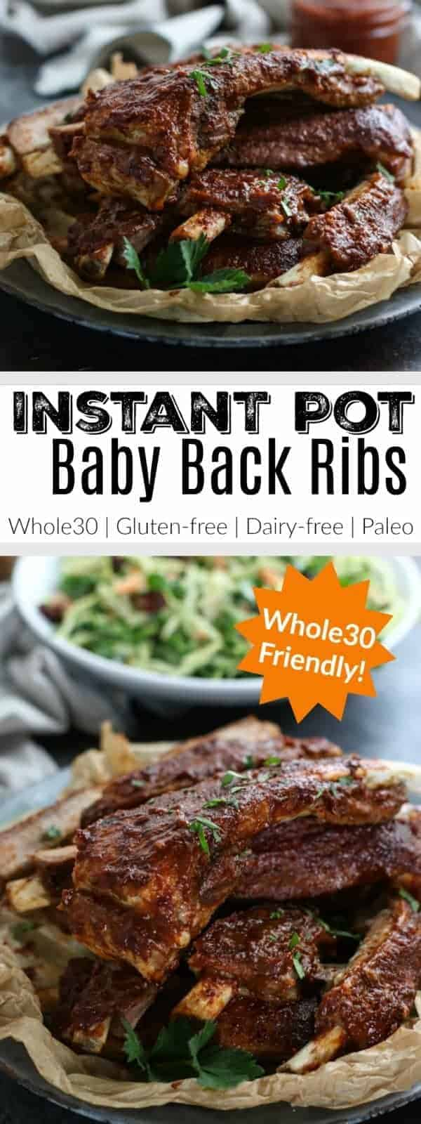 Craving BBQ ribs but don't have all day to tend the grill? No worries, these Instant Pot Baby Back Ribs are ready in under an hour! | The Real Food Dietitians | https://therealfoodrds.com/instant-pot-baby-back-ribs/