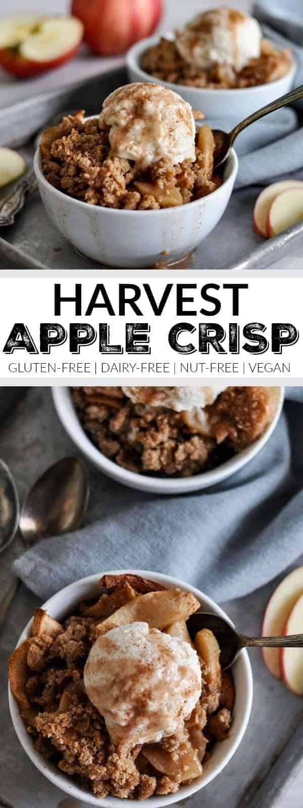 Gluten-free Harvest Apple Crisp | gluten-free fall desserts | gluten-free dessert recipes | gluten-free apple recipes | dairy-free fall desserts | dairy-free dessert recipes | dairy-free apple recipes | nut-free fall desserts | nut-free apple recipes | nut-free dessert recipes | vegan fall desserts | vegan dessert recipes | vegan apple recipes || The Real Food Dietitians