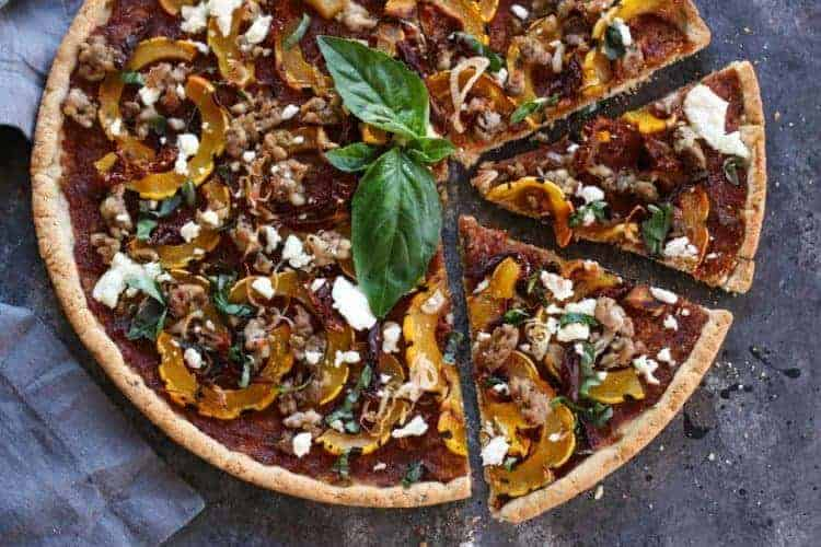 Grain-free Pizza with Sausage and Roasted Squash