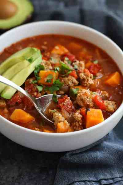 Chipotle Turkey and Sweet Potato Chili | 30 Whole30 Soups, Stews & Chilis | healthy soup recipes | whole30 meal ideas | whole30 recipes | whole30 chili recipes || The Real Food Dietitians #whole30soups #whole30recipe #whole30meals
