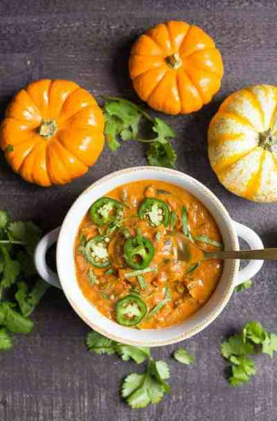Creamy Pumpkin Chicken Chili from Wholesomelicious | 30 Whole30 Soups, Stews & Chilis | healthy soup recipes | whole30 meal ideas | whole30 recipes | whole30 chili recipes || The Real Food Dietitians #whole30soups #whole30recipe #whole30meals