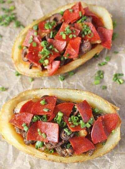 Paleo Pizza Potato Skins | 30 Whole30 Appetizers | healthy appetizer recipes | whole30 approved appetizers | gluten-free appetizers | easy healthy appetizers || The Real Food Dietitians #whole30appetizers #whole30recipes #healthyappetizers