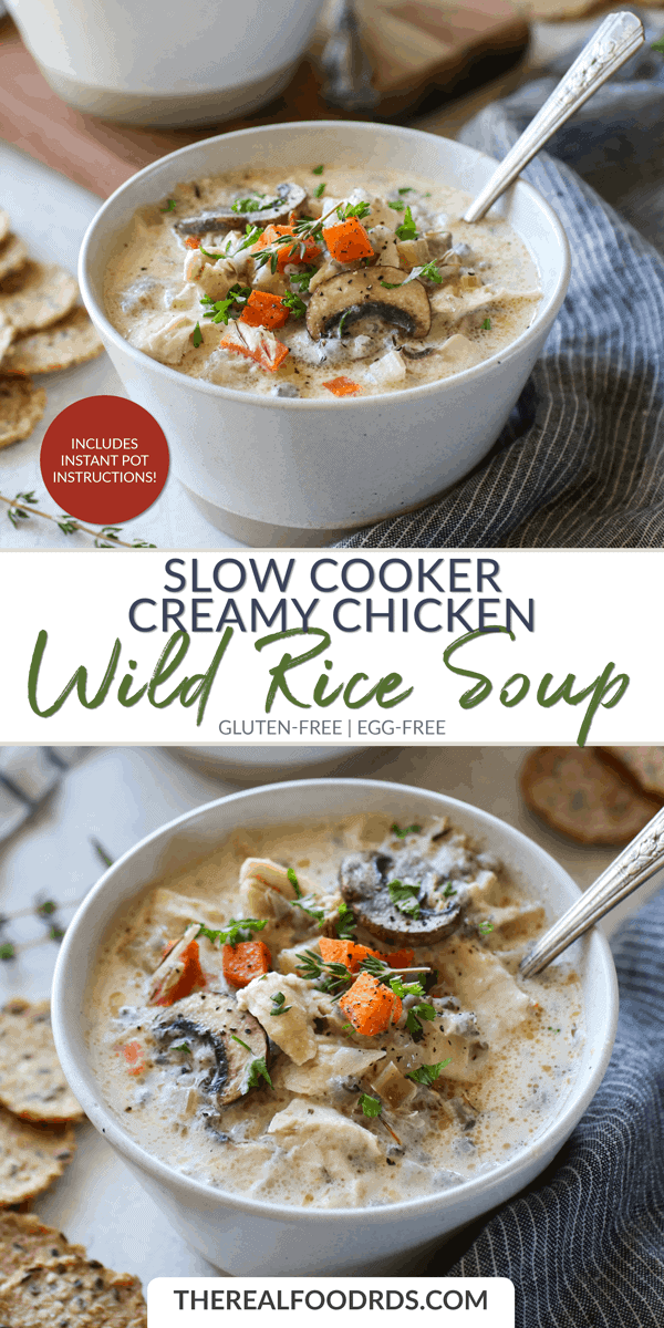 Long Pin Image for Slow Cooker Creamy Chicken Wild Rice Soup