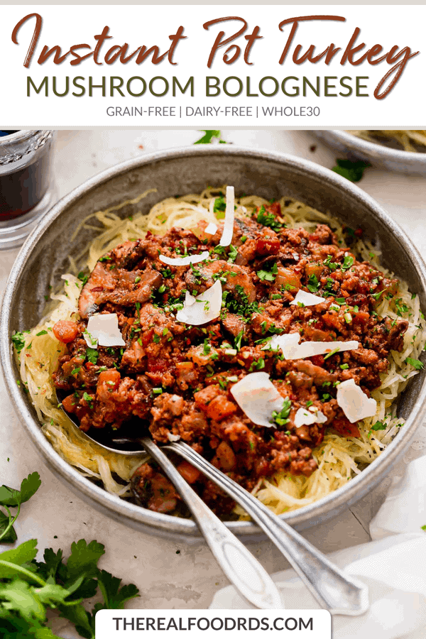Short Pin Image for Instant Pot Turkey Mushroom Bolognese