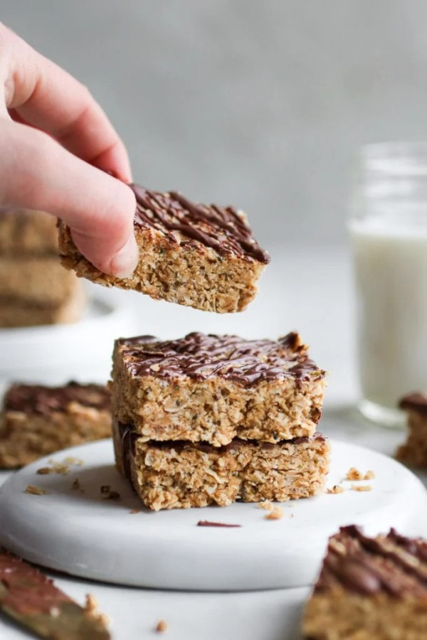 Photo of a stack of No-Bake Peanut Butter Crunch Bars
