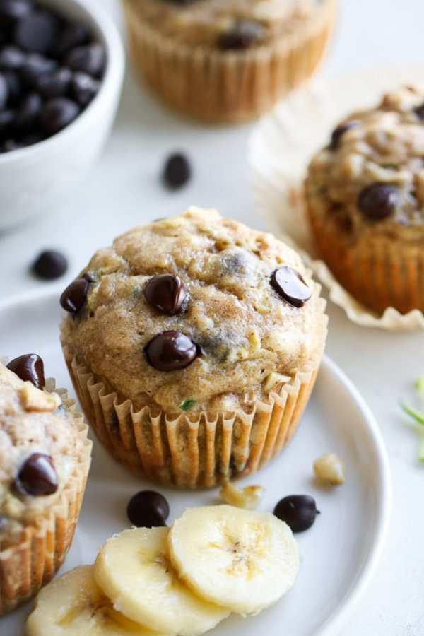 Photo of Gluten-free Chocolate Chip Zucchini Muffins.