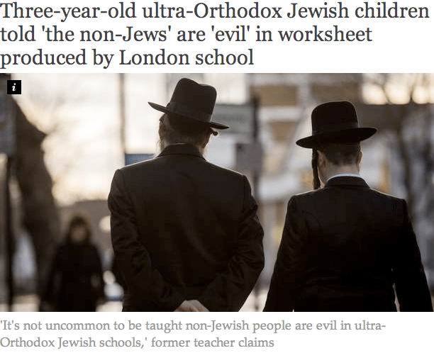 British Three Year Olds Have Been Told The Non Jews Are Evil In A Kindergarten Worksheet Handed Out At Ultra Orthodox Jewish Schools In North London