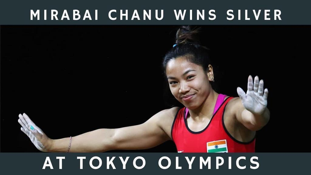 India's Mirabai Chanu wins silver in Olympics 49kg weightlifting with a total lift of 202 kg