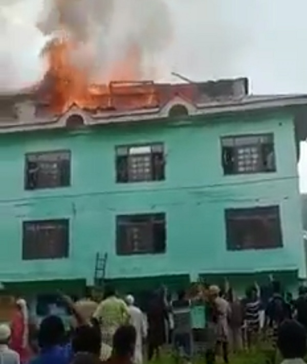 Religious Seminary was Partially Gutted in a Fire mishap at Khadipora village of South Kashmir's Kulgam