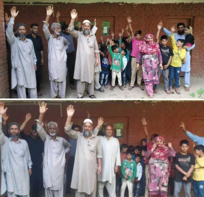 Angry parents Protest against shifting of Govt pry school in Ramhall handwara
