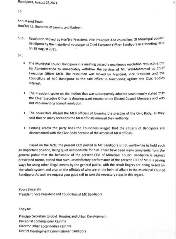 Resolution was moved by Hon'ble President, Vice President And Councillors Of Municipal Council Bandipora by the majority of votes against CEO Municipal Council Bandipora in a meeting
