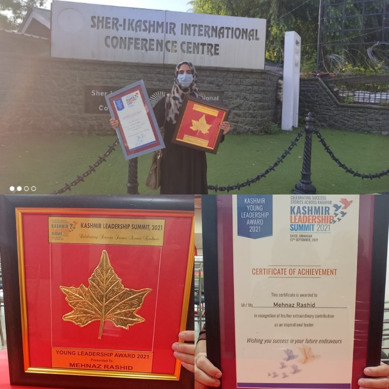 Pride of Kashmir | Young social activist from Lolab, Mehnaz Rashid bags Young achievers with the 'Kashmir Young Leadership Award 2021'