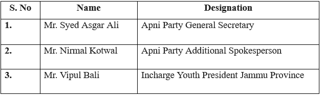Apni Party appoints office bearers for Jammu and Kashmir