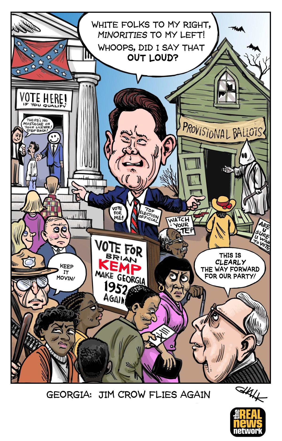 Jim Crow Rides Again: A Cartoon by Tom Chalkley