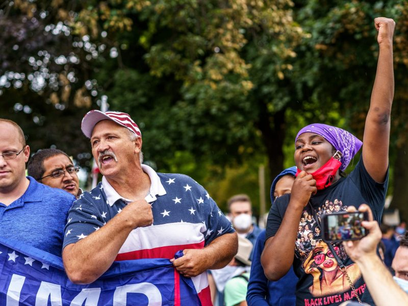 Trump supporters and protesters in Kenosha, Wisconsin
