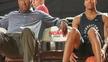 Georgetown head coach John Thompson and Hoya senior Jerome Williams