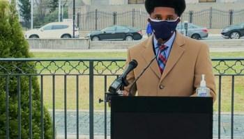 Baltimore Mayor Brandon Scott speaks outside Baltimore City Hall on Monday, Jan. 11, 2021.