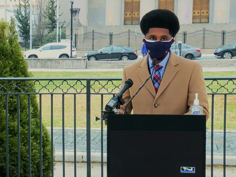 Baltimore Mayor Brandon Scott speaks outside Baltimore City Hall on Monday, Jan. 11, 2021.
