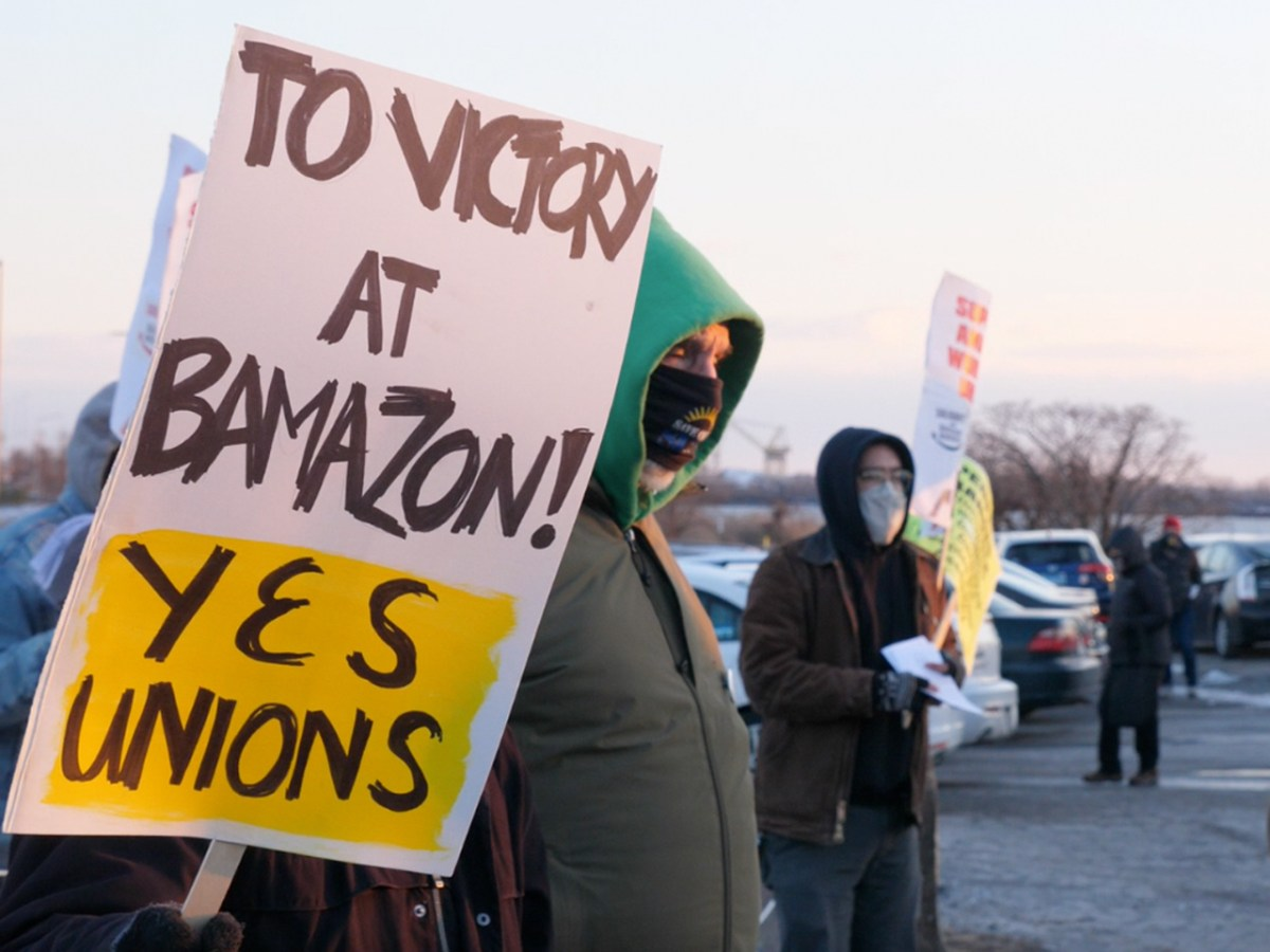 Amazon workers in Baltimore County, MD, take part in a nationwide show of support on Feb. 20