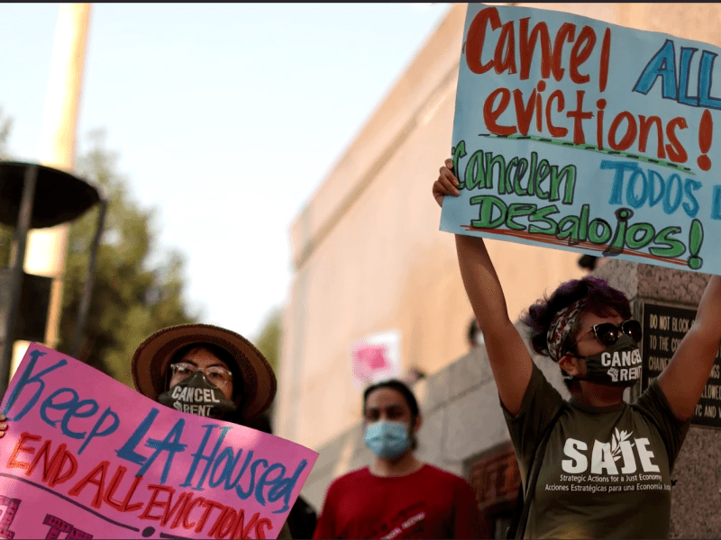 Activists in Washington, DC, demand Democrats reinstate the eviction moratorium after its lapse threatens an estimated 7 million Americans who are behind on rent. Photo taken on August 1, 2021 via Reuters.