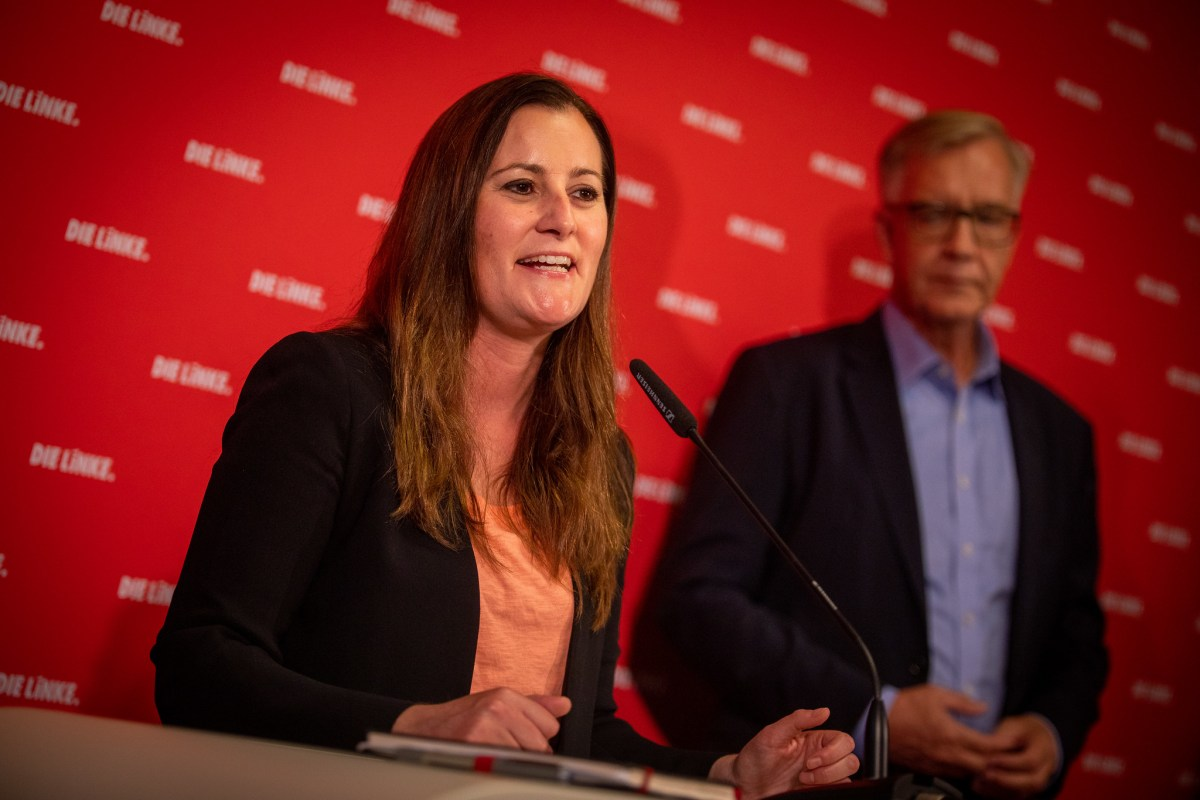 Janine Wissler, one of the coleaders of Germany's Die Linke party, speaks at a press conference