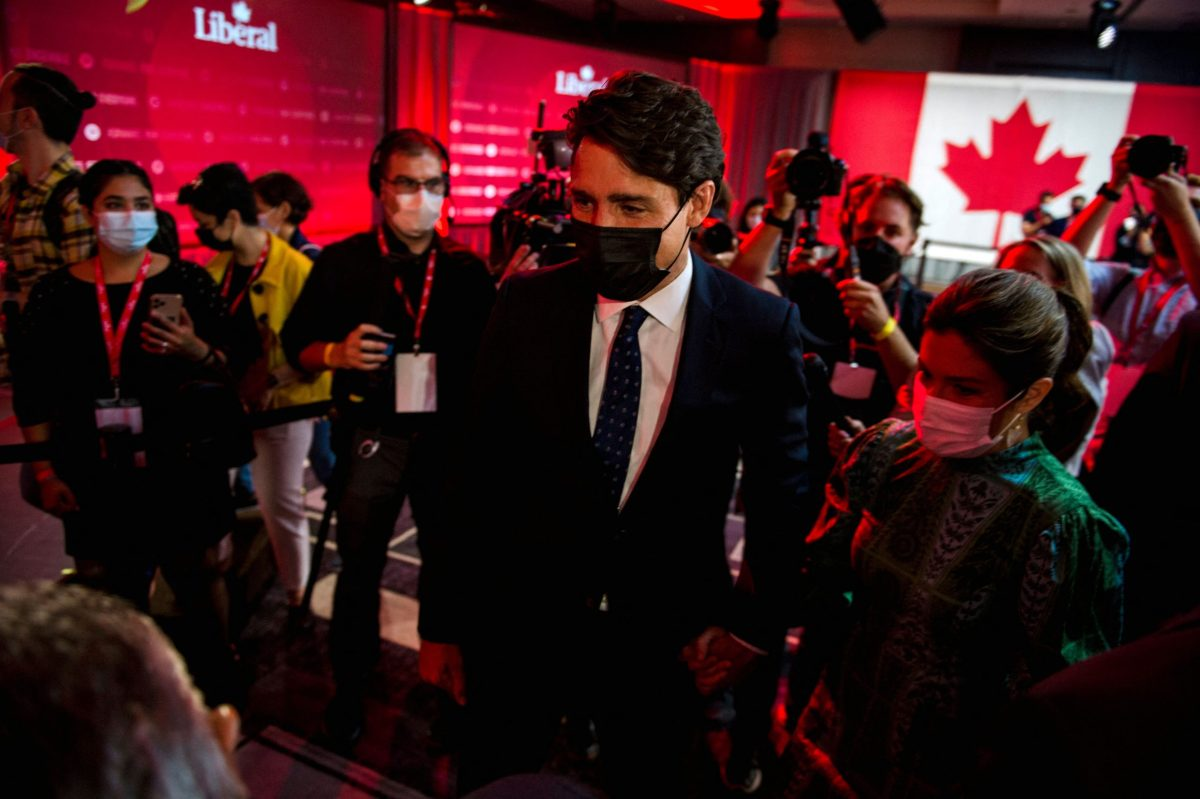 Canadian Prime Minister Justin Trudeau after his victory speech on Sept. 21, 2021