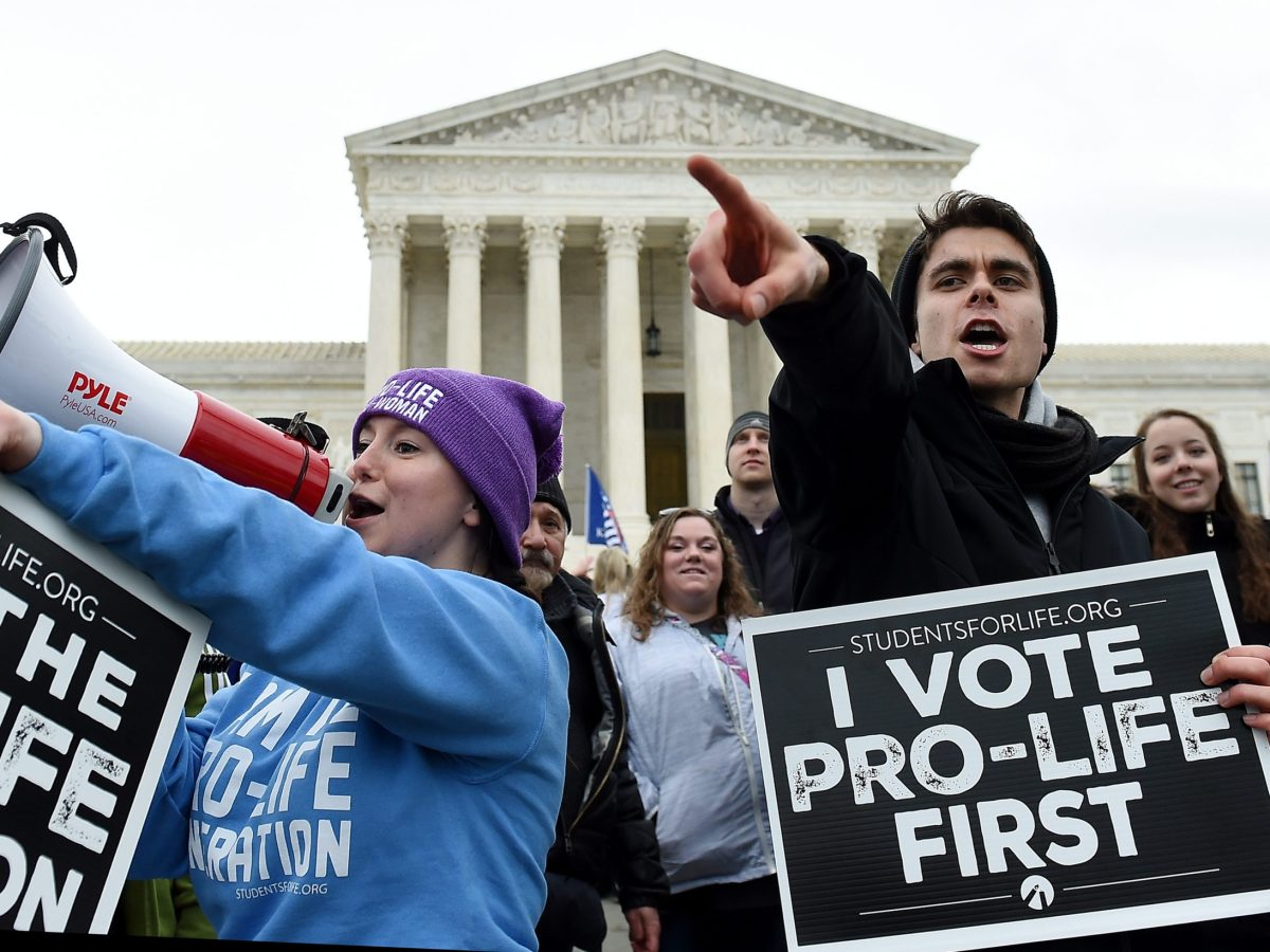 Pro-life activists demonstrate in front of the the US Supreme Court