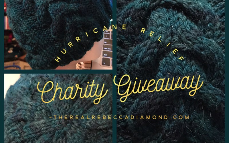 A picture of a handknit hat, being given as a prize in a charity giveaway to benefit victims of Hurricane Harvey.