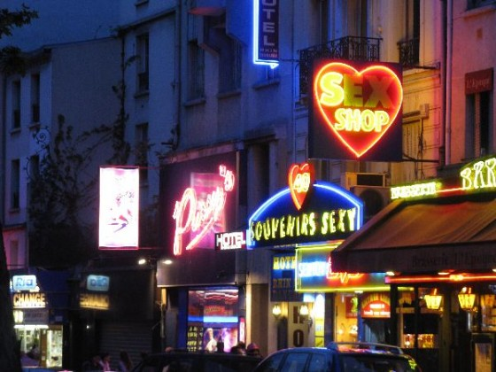 Neon lights seen while walking near the Moulin Rouge, Paris