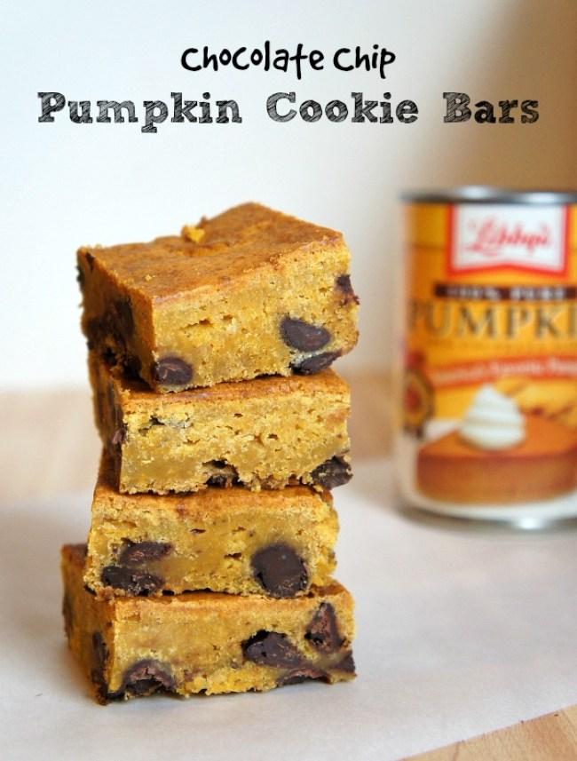 Chocolate Chip Pumpkin Cookie Bars