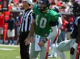 Chad Kelly watches the action