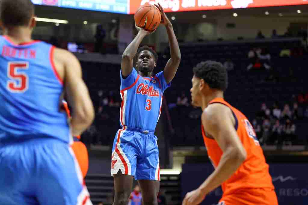 Khadim Sy shoots against Auburn