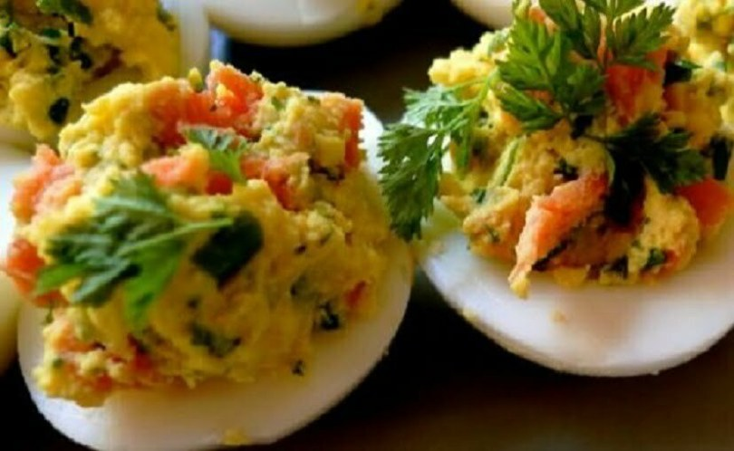 Eggs Stuffed with Smoked Salmon - TheRecipe.Website