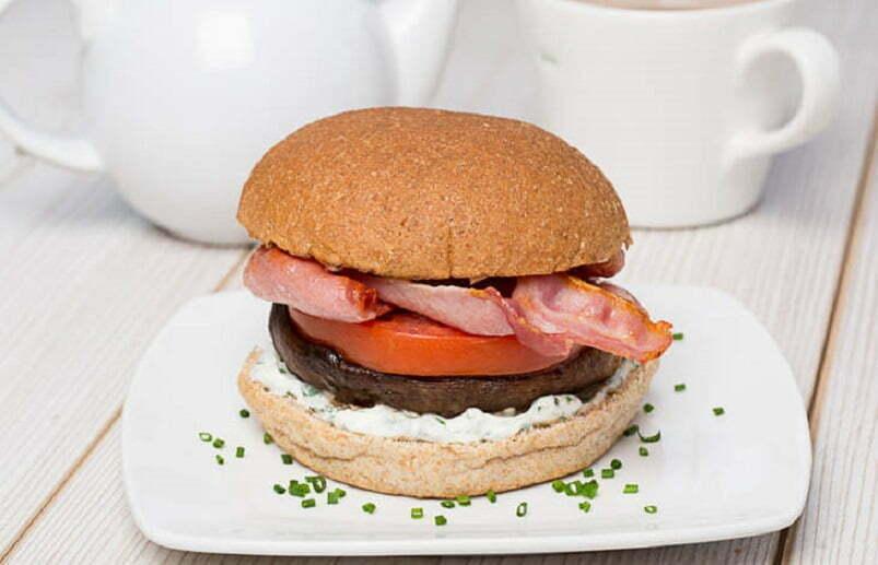 Mushroom, Tomato and Bacon Bap
