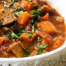 One Pot Spicy Pork and Sweet Potato Stew