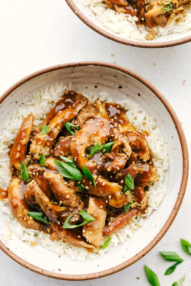 Slow Cooker Teriyaki Chicken on top of rice.